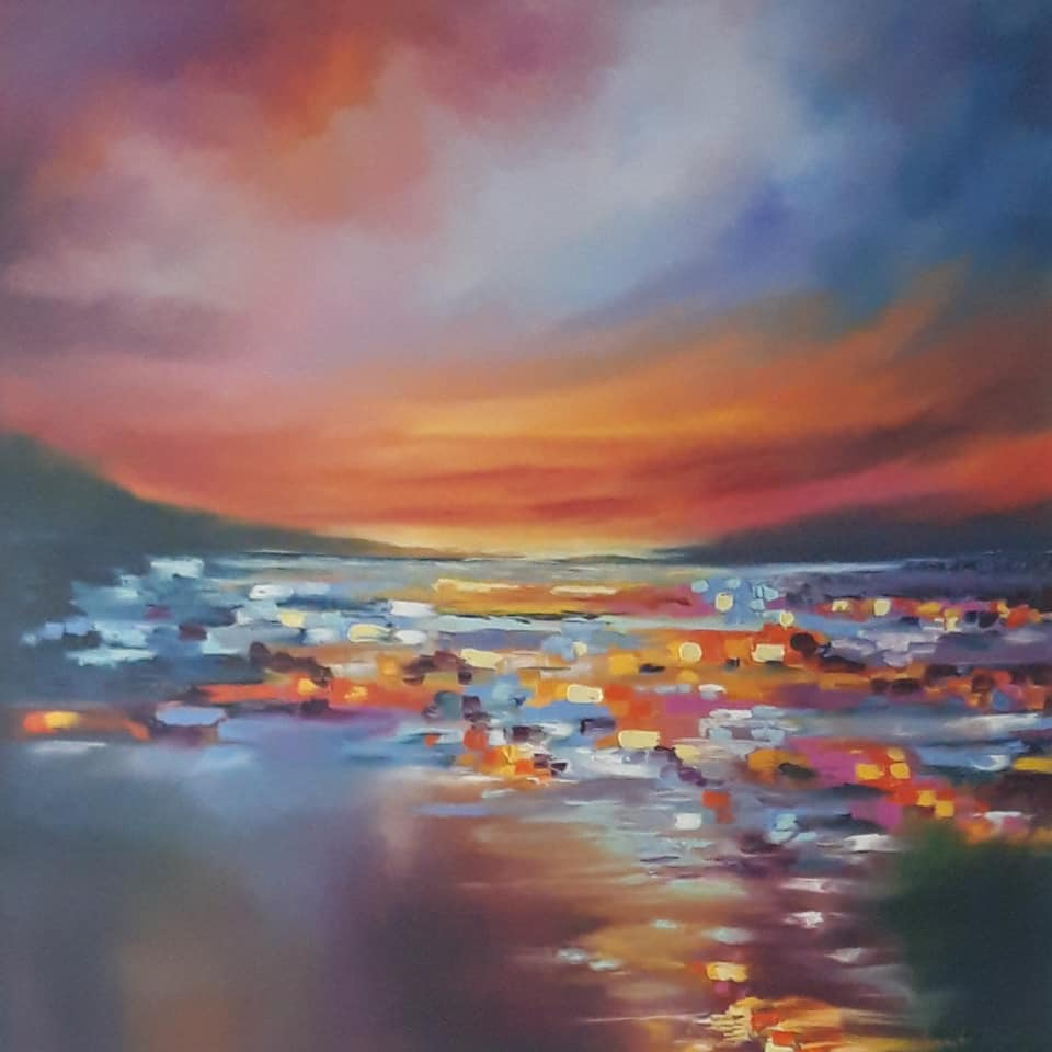 Twinkling Sunset Over The Bay - Oil on Canvas (90x90cm)